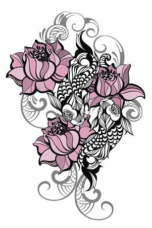 Hand drawn romantic beautiful fish Koi carp with flowers - symbol or harmony, wisdom Illustration
