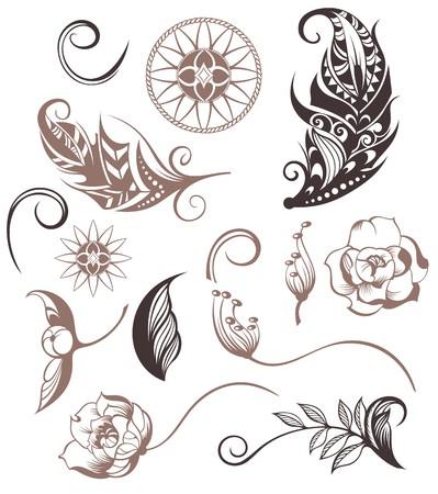 Insieme di elementi ornamentali Boho Style