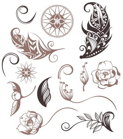 Conjunto de elementos ornamentales del estilo de Boho