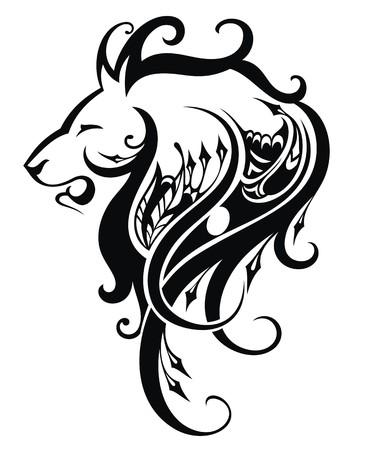 Tête de lion illustration Banque d'images - 52182077
