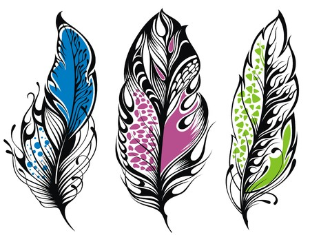 hair feathers: Set of feathers