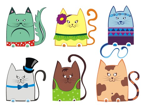 abstract silhouette: cute cat illustration series