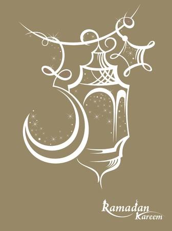 Illustration Ramadan Kareem Background with Lamps