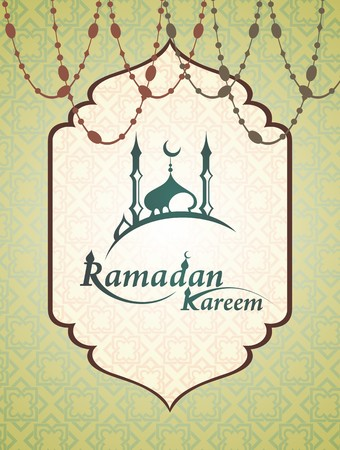 muslim pattern: Ramadan mosque with Ramadan Kareem