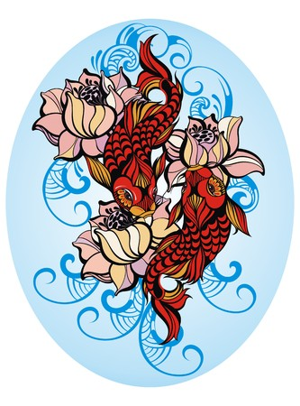 Hand drawn fish (Koi carp) with flowers - symbol of harmony and wisdom