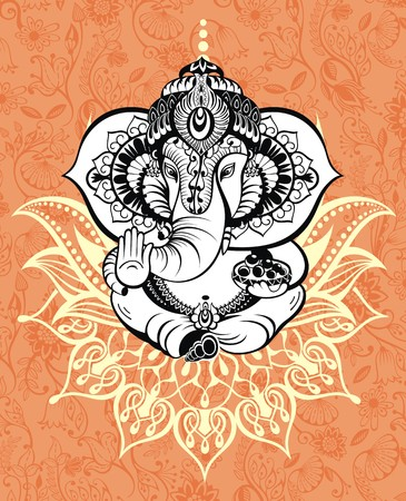 Ornament God Ganesha. Invitation cards Diwali Holiday Illustration