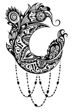 Vector Beautiful Deco Moon, Patterned Design Element
