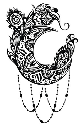sacramental: Vector Beautiful Deco Moon, Patterned Design Element