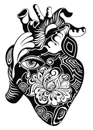 vas: Human heart. Vector illustration.