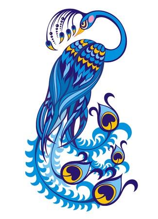 perching: vector peacock Illustration