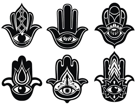 berber: Hamsa hand, Hand of Fatima - amulet, symbol of protection from devil eye Illustration