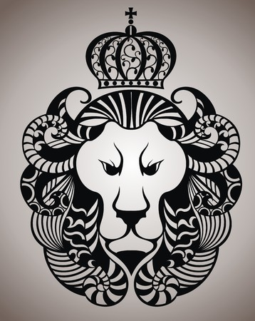 abstract animal: Lion face logo emblem