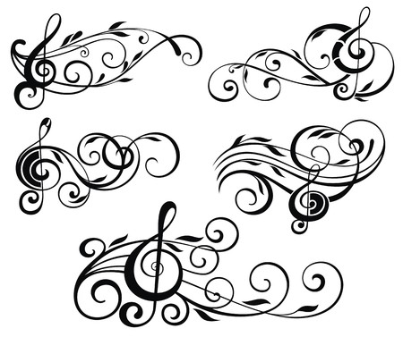 clef: Ornamental music notes with swirls on white background Illustration