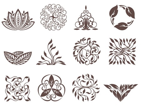 Set of vector simple and elegant logo design templates. Leaves compositions Illustration