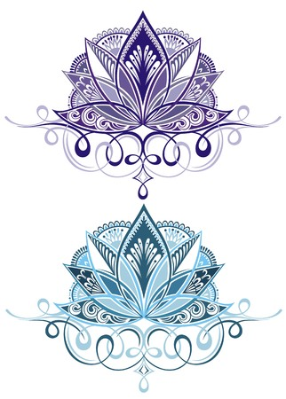 lotus petal: Vector ornamental Lotus, ethnic henna tattoo