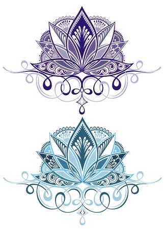 Vector sier Lotus, etnische henna tattoo Vector Illustratie