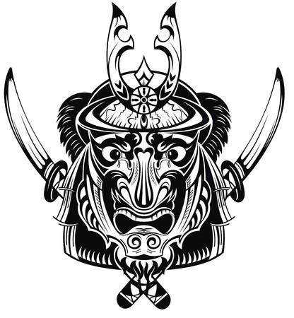 Illustration of mask samurai warrior