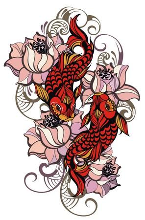 pez carpa: Japonés carpas Vectores