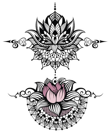 lotus petal: Vector ornamental Lotus, ethnic  henna tattoo Illustration