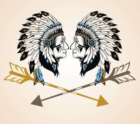 jefes indios de América del Norte con las flechas