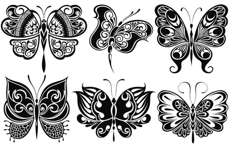 silhouettes: Set of butterflies silhouettes Illustration