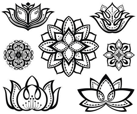 mind body soul: Set of decorative lotuses Illustration