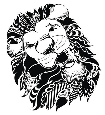 leones: Pista del león - muestra del vector concepto de ilustración Vectores