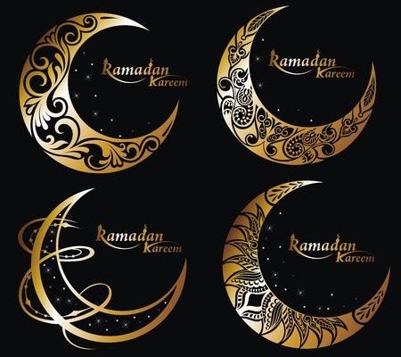 Vector Beautiful Deco Moon. Ramadan symbols Illustration