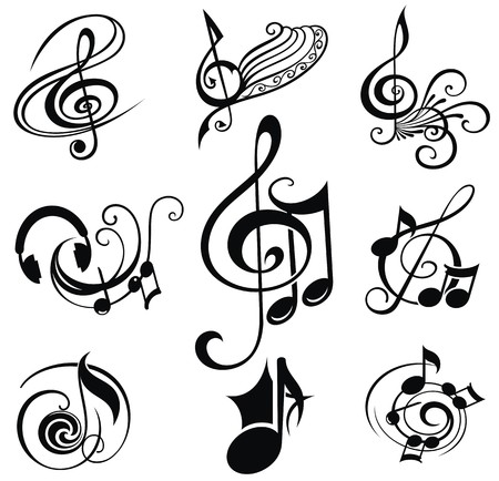classical music: Musical Design Elements Set Illustration