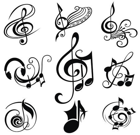 bass clef: Musical Diseño conjunto de elementos Vectores