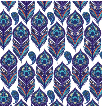seamless floral pattern: peacock feathers Illustration