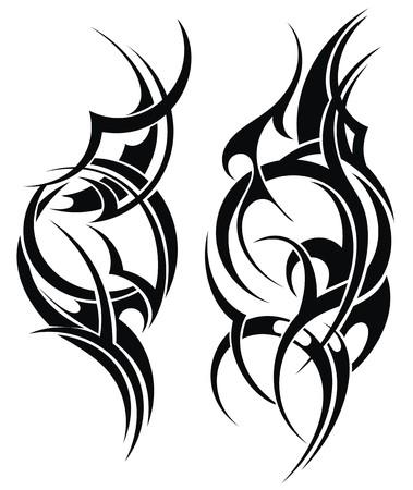 Dibujado mano del tatuaje tribal