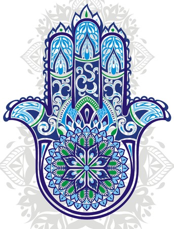 aura sun: Vector Indian hand drawn hamsa with ethnic ornaments