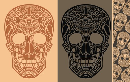 freehand tradition: Seamless Background with skulls Illustration