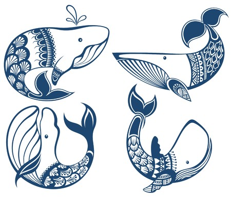 sea creatures: Big set of cartoon cute and funny whales, sea animals set, sea creatures collection