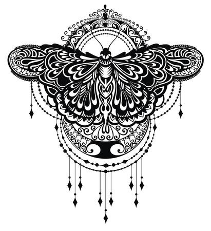 negro: Diseño de las mariposas Vectores