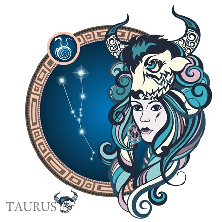 pisces sign: Taurus. Zodiac sign Illustration