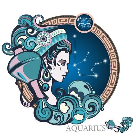Aquário. signo do zodíaco Ilustración de vector