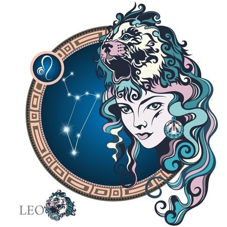 Leo. Zodiac sign Ilustração