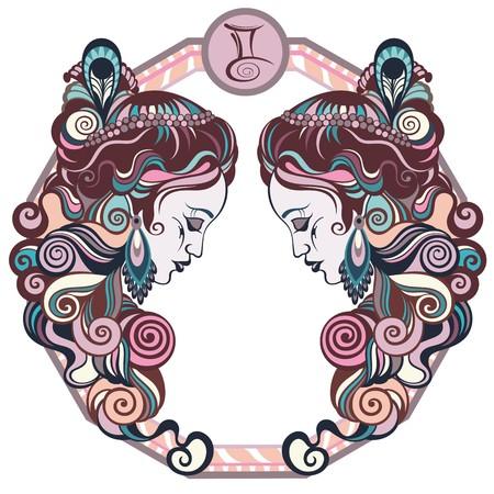 gemini zodiac: Zodiac signs Gemini. Vector illustration of the girl