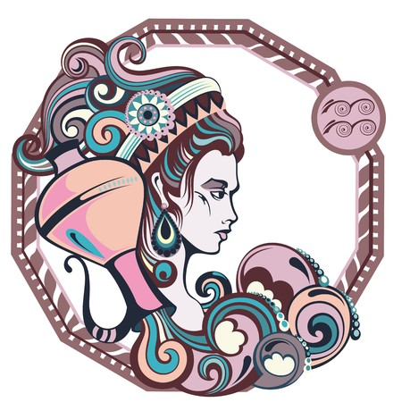Zodiac signs Aquarius. Vector illustration of the girl
