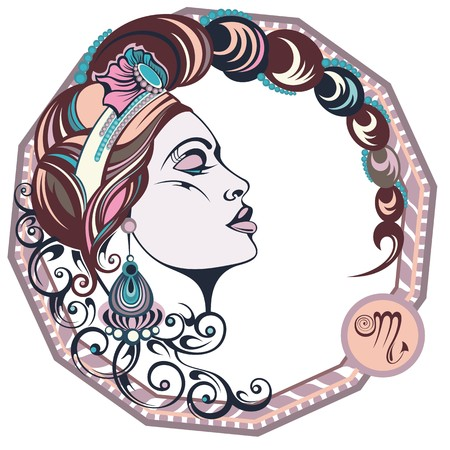 zodiacal symbol: Zodiac signs Scorpio. Vector illustration of the girl Illustration