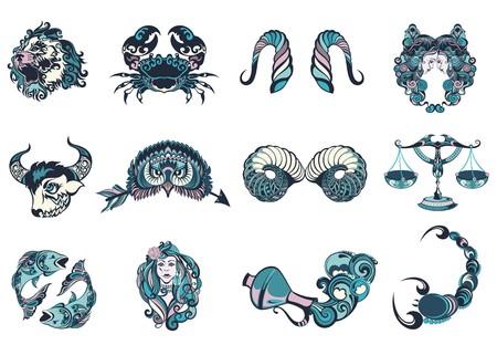 capricornio: Conjunto de signos gráficos del zodiaco