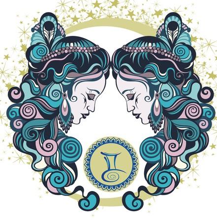 Decorativo signo zodiacal Géminis Ilustración de vector