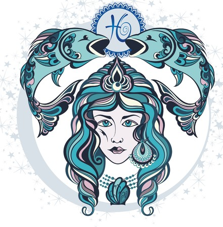 zodiacal symbol: Decorative Zodiac sign Pisces Illustration