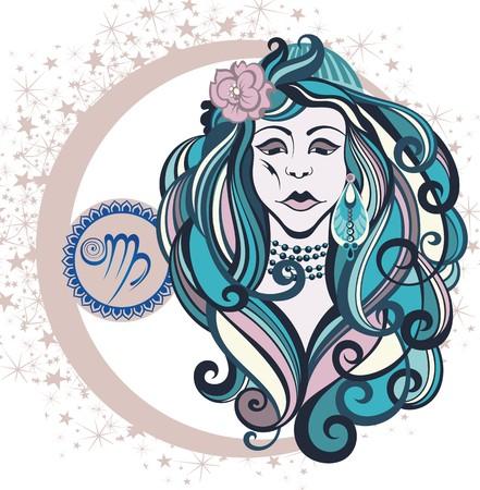 signes du zodiaque: Signe décoratif Zodiac Vierge Illustration