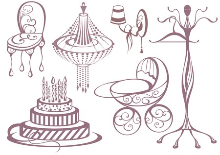 chandelier  kids: Birthday, greeting and invitation elements