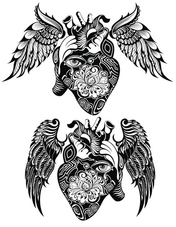 Decoratieve Menselijk hart tattoo