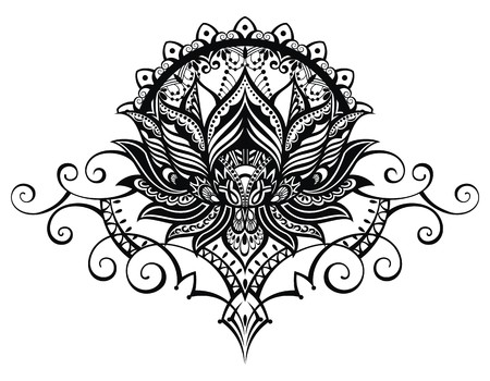 drawing: Vector ornamental Lotus flower, ethnic art, patterned Indian paisley