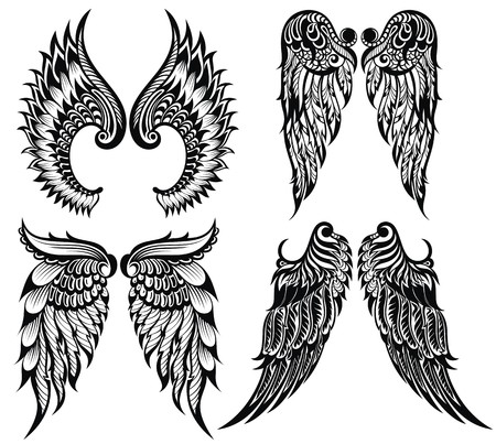 wings vector: Abstract vector illustration wings set